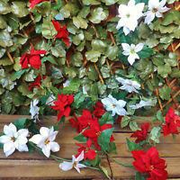 Red or White Poinsettia Garland Christmas Tree Home Winter Wedding Decoration