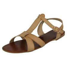 Sandalias y chanclas de mujer planos de color principal marrón, talla 39