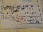 "Custom Blueprints/Plans Curtiss-Wright T-32 Condor Scale 82"" Wingspan"