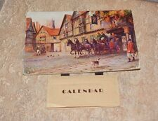Unique VTG Photographic 1945 Paper Calendar Card Hanging Wall Dog Horses British