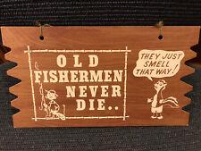 Vtg Fisherman 's Hanging Postcard/ Placard Sign 1950's Funny Satirical