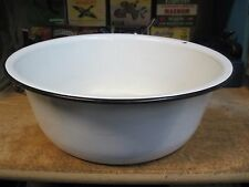 "vintage Black & white large porcelain enamel ware 13"" basin bowl mid 1900's"