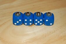 DUDDS DICE BLUE w/WHITE DOTS VALVE STEM CAPS (4 PACK) #6