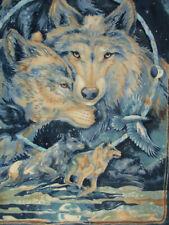 WOLF WOLVES MOON LARGE FLEECE FABRIC PANEL