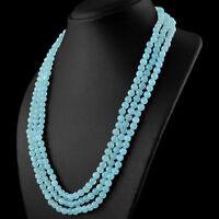Cts Natural 3 Strand Blue Aquamarine Round Shape Beads Hand Made Necklace
