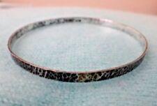 Sterling Silver Bangle Bracelet signed 950 Peru Modern Pebbled Pattern
