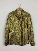 Carlisle VTG Gold Floral Silk Metallic Collared Button Down Shirt Top Size 8 M