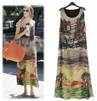 New Women lady Plus Size Summer Beach Long Evening Party Chiffon Print dress