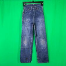 Vtg 1940s 1950s Jeans Indigo Double Knee Denim Pant Workwear Distressed Selvedge