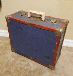 """Vintage 16"""" Antique Travel Small Trunk Blue with Metal Corners Suitcase"""