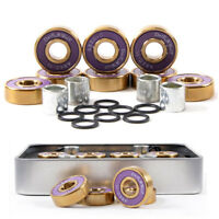 Dark Wolf Skateboard Bearings Titanium ABEC-11 Purple Gold 8PC with 4PC Spacer