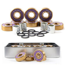 Dark Wolf Skateboard Bearings Titanium ABEC-11 Purple Gold 8PC with 4PC Spacer