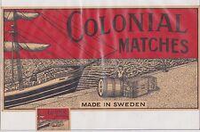 Ancienne  très  grande étiquette   allumettes Suède BN21661 Colonial Bateau