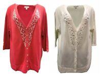 Susan Graver Embellished V-Neck Cardigan Sweater Coral Ivory 1X 2X 3X 160641RM