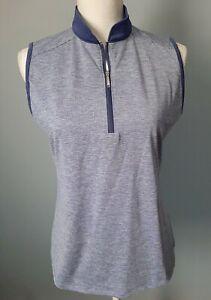 IZOD Golf Womens Purple Sleeveless Golf Polo Shirt Size Medium Half Zipper