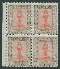 1924-29 LIBIA PITTORICA 15 CENT QUARTINA MNH ** - M50-2