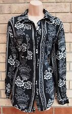MISSGUIDED WHITE BLACK FLORAL BOHEMIAN LONG SLEEVE BUTTONED BLOUSE T SHIRT TOP S