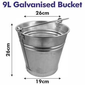 9L TRADITIONAL GALVANISED STRONG STEEL METAL SMALL BUCKET WITH HANDLE PLANTER TU