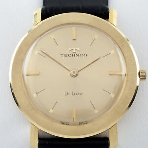 18k Yellow Gold Technos Hand-Winding Watch w/ Black Leather Band