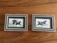 Micro Mosaic Frame Tile Painted Horse Inlaid Inlay Vintage Hunting Signed