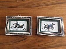House Hunting Tile Mosaic Frame Painted Inlaid Inlay Vintage Hunting Signed