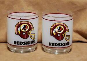 2 Vintage Washington Redskins NFL Frosted Tumbler Glasses 1980's Mobil Gas