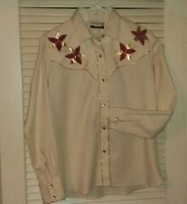 Mens Embroidered Western Shirt Vintage Karman Med. Gold Red Cream Excellent Cond
