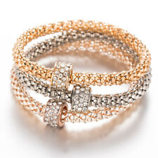 3Pcs Crystal Round Chain Bangle Women's Gold+Silver+Rose Gold Bracelet Set