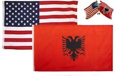 Wholesale Combo USA & Albania Country 3x5 3'x5' Flag & Lapel Pin