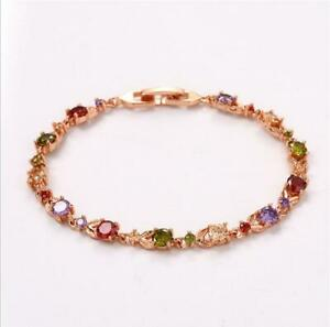 Rainbow Classical Oval Multi Amethyst Garnet Morganite Rose Gold Plated Bracelet