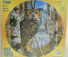 Great Horned Camouflage by Graeme Stevenson ~ 500 pc Round Puzzle ~ Owl Sealed