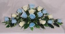 wedding flowers top table decoration baby blue & ivory roses gyp many colours