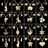 Charm Gold/Silver Stainless Steel Jewellery Set Women Wedding Necklace Earrings
