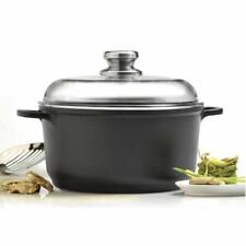 """EUROCAST Professional Cookware 11"""" Stock Pot With Glass Lid 7 Liter"""