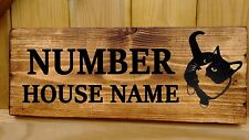 Personalised Cat House Door Name Sign Plate Plaque Porch Conservatory Wooden New