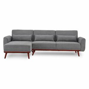 Sarantino Corner Sofa Bed Faux Velvet Lounge Couch Modular Chaise Light Grey