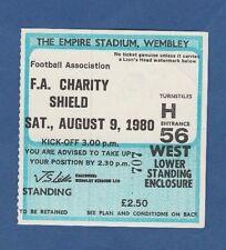 Orig.Ticket  England Supercup FINALE 1980   FC LIVERPOOL - WEST HAM UNITED ! TOP