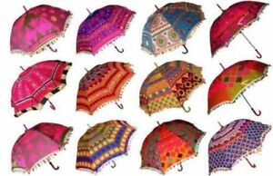Wholesale Lot of 50PC Traditional Indian Embroidered Vintage Colorful Umbrella