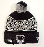 New Era NBA Brooklyn Nets Black Knit Cuff Beanie with Pom Pom Adult One Size NWT