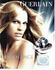 Publicité Advertising  0817  2006  parfum Insolence par Guerlain & Hilary Swank