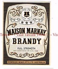 Unused 1940s AUSTRALIA Penfolds MAISON MARNAY BRANDY Label