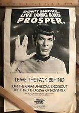 Spock 1989 Anti Smoking Poster 11in by 17in - Star Trek, Leonard Nimoy