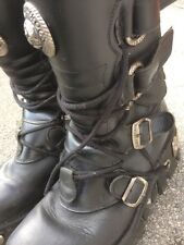 Untidy Scruffy Damaged New Rock Reactor Gothic Biker Boots Uk10 Or 9?
