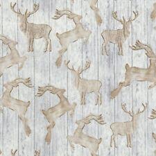 Christmas Fabric - Rustic Wood Reindeer on Birch - Timeless Treasures YARD