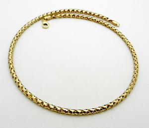 """ITALY made 14k Yellow Gold Fancy Style Hollow Choker Necklace 17"""" long"""