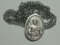 """Sacred Heart of Jesus Holy Medal on 24"""" Stainless Steel Chain Roman Catholic"""