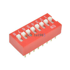 10/50PCS Red/Blue 2.54mm Pitch 8-Bit 8 Positions Ways Slide Type DIP Switch