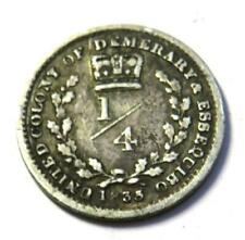 1835 United Colony Of  Demerary & Essequibo 1/4 Guilder Coin