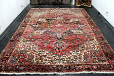 10X14 SPECTACULAR VINTAGE ANTIQUE HAND KNOTTED DISTRESSED HERIZZ ORIENTAL RUG
