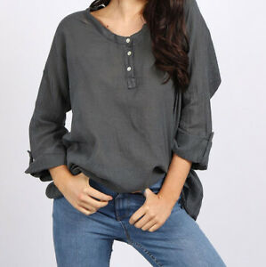 Lagenlook Grey Linen Front Button Top from Timeless Season